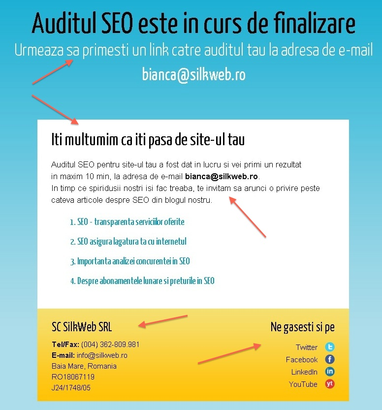 finalizare audit seo