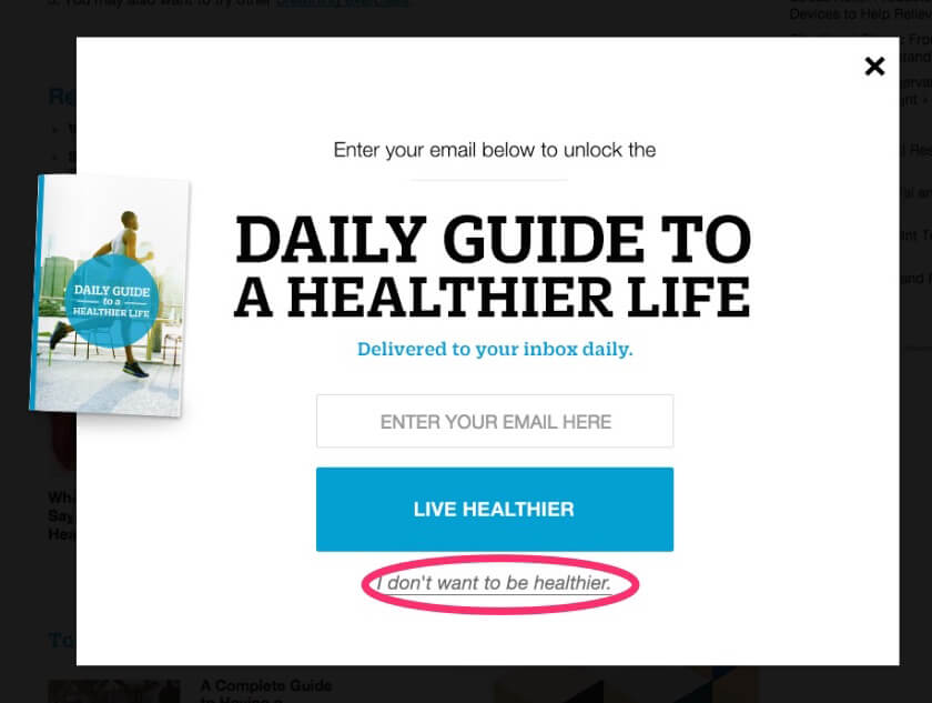 pop-up opt-out