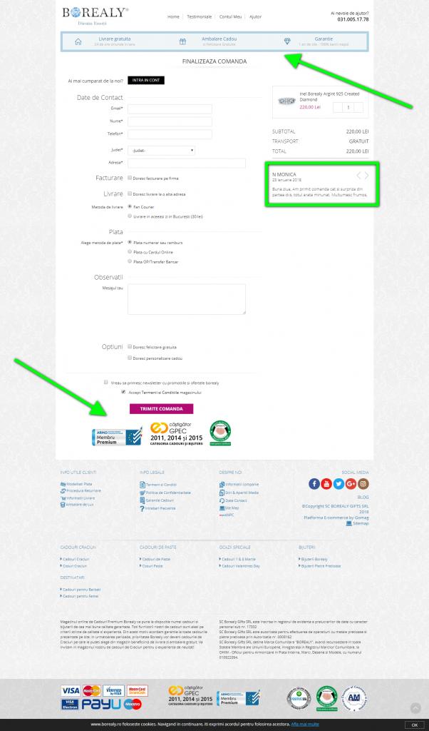 Exemplu checkout cu eliminarea obiectiilor clientului