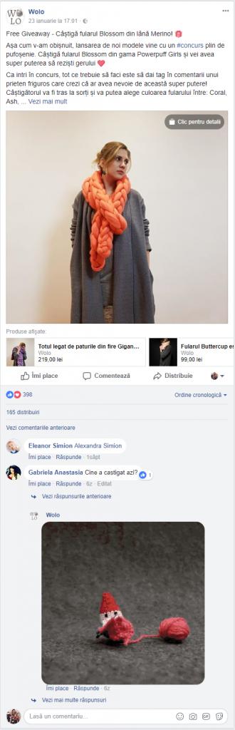Exemplu personalizare postari + concurs pe Facebook