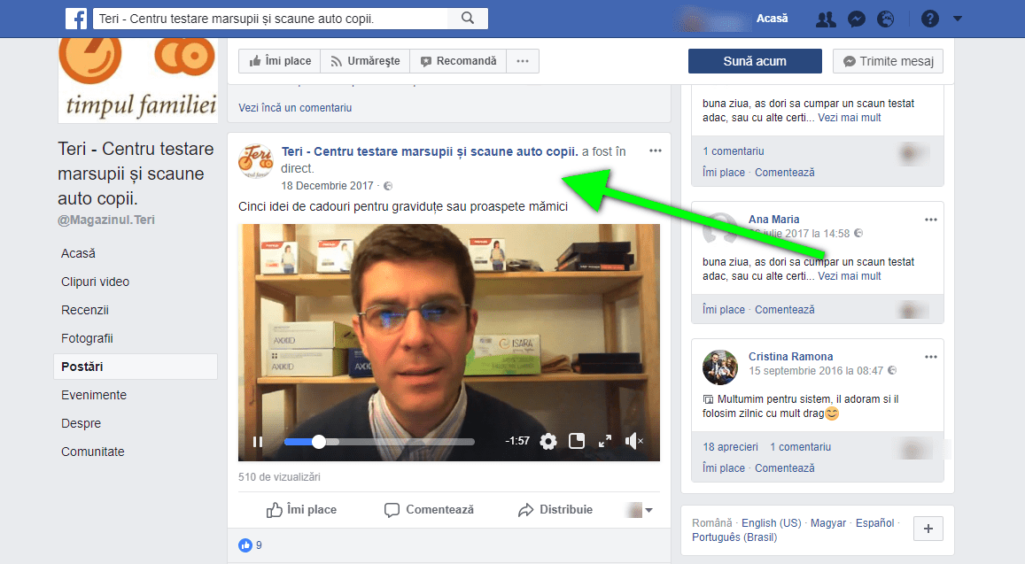 video Facebook live teri.ro