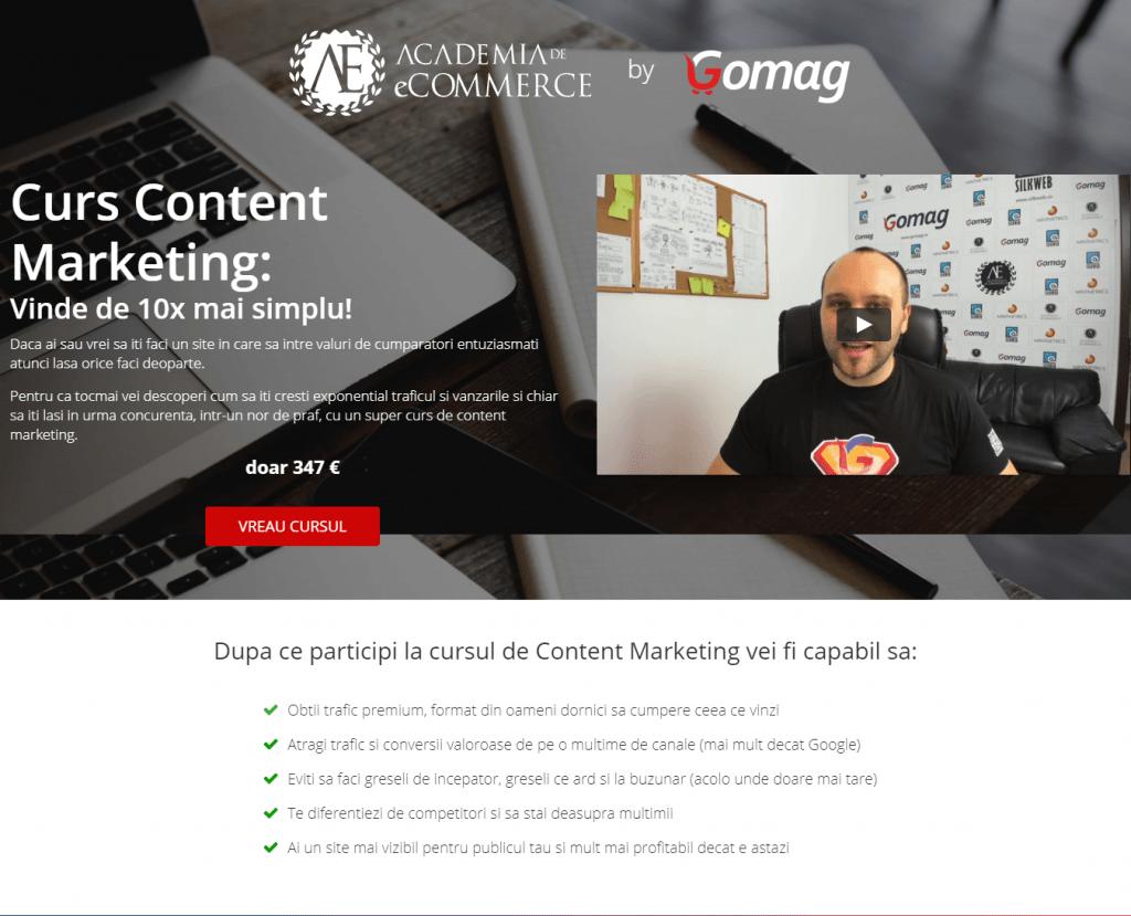 exemplu pagina de vanzare curs content marketing academia de ecommerce