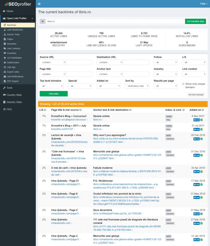 profil backlink-uri open link profiler